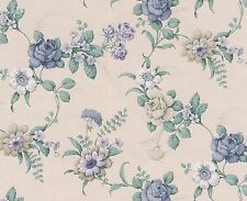 Cottage Blue Rose Violet  Ivory Cream Tan Double Roll Bolt Wallpaper Wall Cover