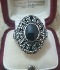 VINTAGE 925 SOLID SILVER COCKTAIL RING, ONYX & MARCASITE, SIZE P