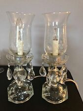 Pair Vtg Glass Crystal Boudoir Lamps w/ Hanging Prisms & Etched Glass Chimneys
