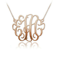 "2"" Oversized Monogram Necklace in 18k Rose Gold Plated -Personalized (US Seller)"