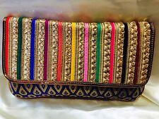 Multi Coloured Blue Handbag Clutch Wallet Bollywood Indian Sari Purse Art Silk