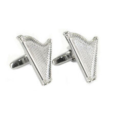 Silver Coloured Celtic Harp Cufflinks New Boxed Irish musical instrument AJ107