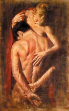 Oil painting romantic young lovers naked strong young man and girl Hand painted