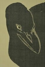 Hanging Scroll Japanese Painting crow Antique Japan art ink Peacock Picture a840