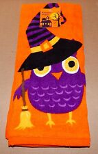 "Halloween Kitchen Towel 16 1/2"" x 26"" 100% Cotton Owl Witch Shopko 72O"