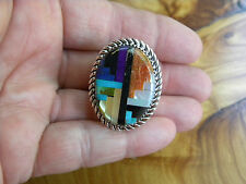 LARGE TURQUOISE, SUGILITE, SPINY INLAY STERLING SILVER SIZE 7-1/2 RING  C CHAMA