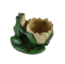 Weller Pottery Coppertone Waterlily Frog Nosegay Vase Arts and Crafts era
