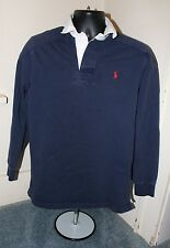 Polo Ralph Lauren Men's Rugby Long Sleeved Shirt Small S Solid Blue 100% Cotton