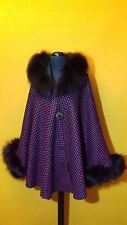 Elegant wool cape/poncho/coat/shawl with real fox fur trim
