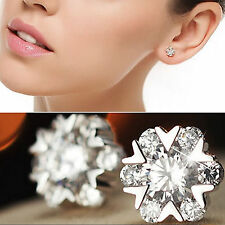 925 Silver Clear Crystal Snowflake Round Stud Earrings New UK 221
