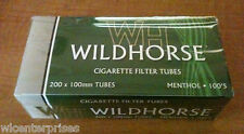 Wildhorse Menthol Flavor 100s Size Cigarette Tubes - Lot of 5 Boxes=1,000 Tubes