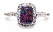 Sterling Silver Black Fire Opal And Diamond 1.89ct Ring (925) Size 7 (N)