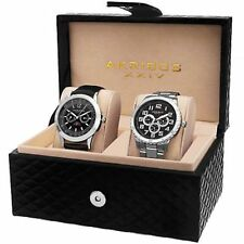 NEW Akribos XXIV AK740SSB Men's Silver Case Black Dial 2-Watch Set AK739 AK666