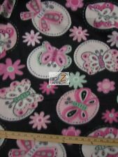 "BUTTERFLY PRINT POLAR FLEECE FABRIC- Black/Baby Pink Butterfly -60"" SOLD BTY 580"