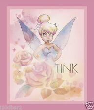 TINKERBELL FABRIC quilt top STARS IN THE SKY PANEL DISNEY FABRIC TINK PINK NEW