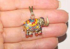 """Amazing 14K Yellow Gold Colorful Enamel Large 1""""  Puffed ELEPHANT Pendant Charm"""