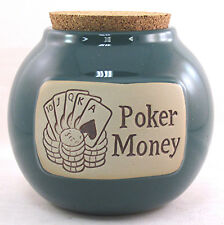 "Gambling Casino 5 Card Stud Draw Bank Word Jar ""Poker Money""  Lady Lucky Chips"