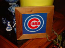 CHICAGO CUBS BLUE LOGO CUSTOM SOLID RUSTIC CEDAR FRAMED FLEECE QUILT SQUARE