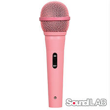 Soundlab Dynamic Vocal DJ Music Karaoke Pink Microphone & 4m XLR to 6.35mm Lead