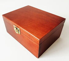 BRAND NEW SMALL HANDMADE BROWN WOODEN STORAGE BOX FOR CHESS PIECES 16x12x7cm