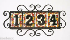 4 Mexican BLACK House Numbers Tiles with HORIZONTAL Iron Frame