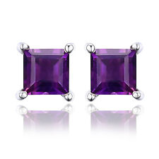 Jewelrypalace Square 0.6ct Natural Amethyst 925 Sterling Silver Stud Earrings