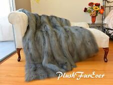 60 x 72 Silver Gray Raccoon Shaggy Bearskin Faux Fur Throw Comforters Blanket