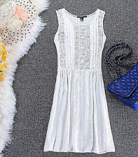 Women FOREVER 21 Retro Cotton embroidery Sleeveless Tunic White beach vest Dress