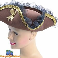 BROWN BUCCANEER PIRATE LADY TRICORN HAT - womens ladies fancy dress accessory