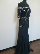 Elegant Midnight Blue silk chiffon beaded gown by Badgely Mischka Couture