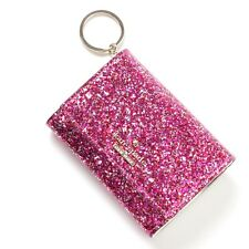 $78 Kate Spade NY Glitter Bug Darla Mini Wallet w/ key Chain in Red Pink Silver