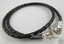 "BLACK LEATHER DOUBLE Genuine PANDORA Bracelet with SILVER Medium 15""/38cm NEW"
