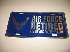 Air Force Retired USAF Blue Wings License Plate Tag