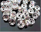 Loose Bulk Jewelry Making Rhinestones Rondelle Spacer Charm Beads Silver Crystal