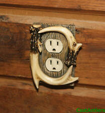 6 Pack: Faux Deer Antler Single Outlet Receptacle Cover Electrical Plate Rustic