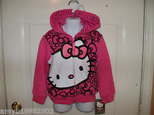 Hello Kitty Pink Zip Up Hoodie Size XS Girl's NEW LAST ONE