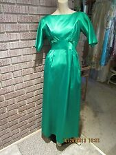 Women's Vintage 60's 70's Lorrie Deb Of S.F. Emerald Green Satin Bows Dress S