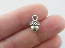 8 Acorn charms antique silver tone L162