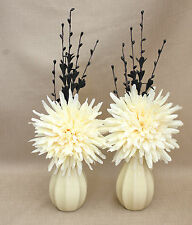 ARTIFICIAL (SET OF 2) SILK CREAM POM POM IN CREAM PUMPKIN CERAMIC VASES