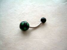 14g Black Green Pot Leaf Acrylic Theme Belly Button Navel Ring BUY 1 GET 1 FREE