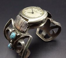 Old Heavy Vintage NAVAJO Sand Cast Sterling Silver TURQUOISE Watch Cuff BRACELET