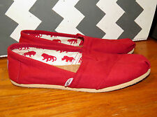 TOMS Canvas Slip On RED SAFARI Valentines VINTAGE CLASSIC Womens Shoes Sz 8.5