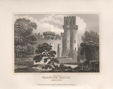 1845 ANTIQUE PRINT-DUGDALE- WARWICKSHIRE - WARWICK CASTLE, GUYS TOWER