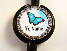 ID STETHOSCOPE NAME TAG BLING RHINESTONE BUTTERFLY,NURSE,RN,TECH,MEDICAL,ER,LVN