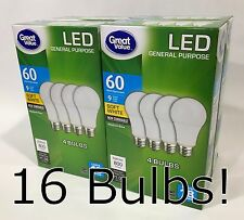 Case of 16 - LED 60 Watt Soft White 60W (9W) Non-Dimmable A19 2700K Light Bulbs