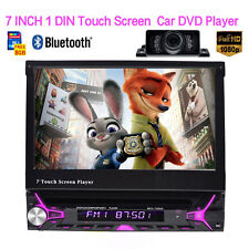 """7"""" Single 1 Din GPS In Dash Car Stereo Radio DVD Player Bluetooth Touch +Camera"""