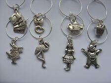 Lovely Alice in Wonderland Wine Glass Charms Handmade Set of Eight Silver