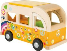 Wooden Hippie Camper Van Gift Toy VW Style Retro Vintage Push Along Wooden Toy