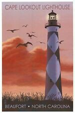 Cape Lookout Lighthouse & Sunrise, Beaufort, North Carolina NC - Modern Postcard