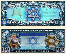 Le JUDAISME - BILLET 1 MILLION DOLLAR US ! Collection Religion Juive juif Israel